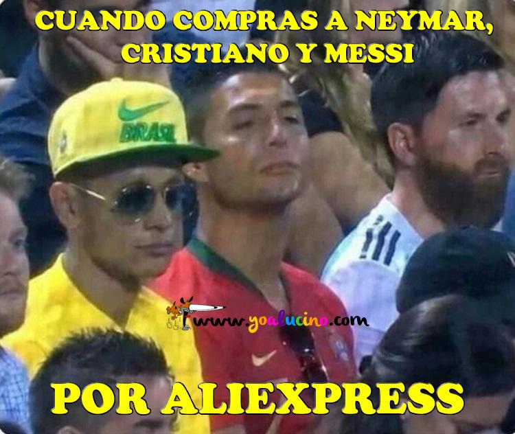 Neymar, Cristiano y Messi por Aliexpress
